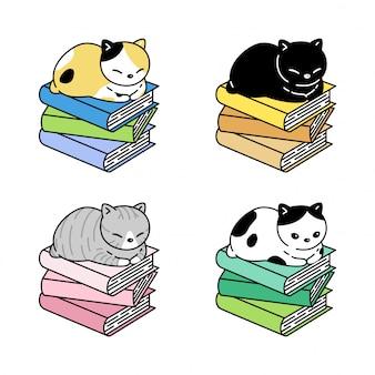 Kot postać kotek perkal książki spanie kreskówka