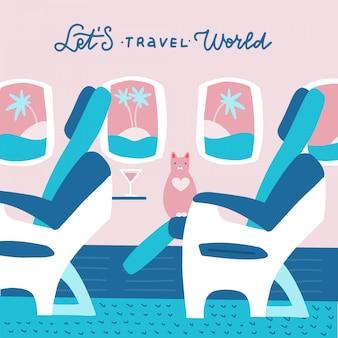 Kot postać siedzi na krześle i zrelaksować się w klasie biznes. ilustracja kreskówka z napisem cytat - podróżujmy po świecie