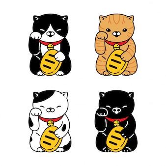 Kot postać z kreskówki kotek perkal maneki neko ilustracja