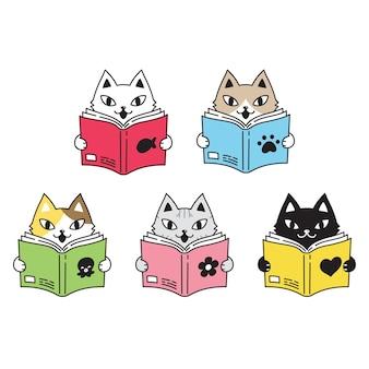 Kot postać z kreskówki perkal kotek zwierzę czytanie książki