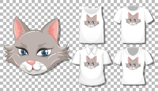 Kot postać z kreskówki z zestawem różnych koszul na białym tle