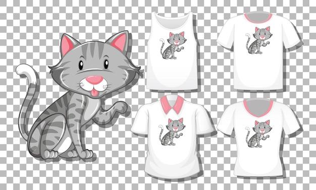 Kot postać z kreskówki z zestawem różnych koszul na przezroczystym tle