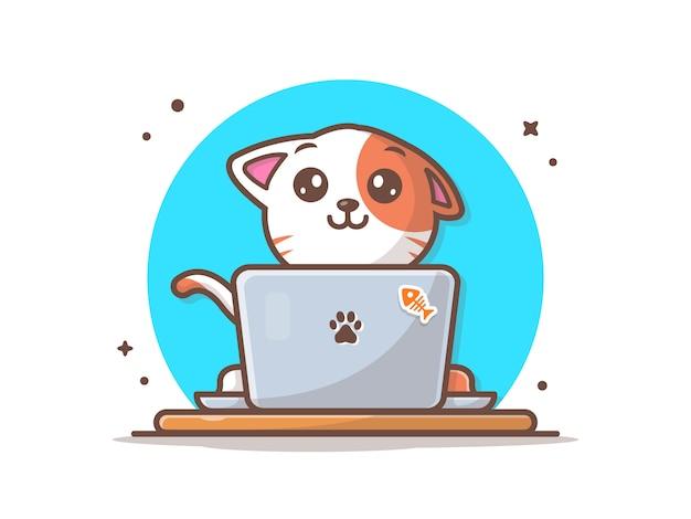 Kot pracuje na laptopie ilustracji