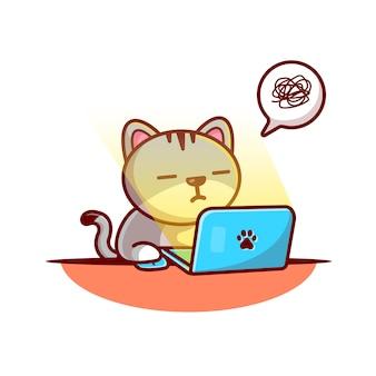 Kot pracuje na laptopu wektoru ilustraci. kot i laptop. koncepcja zwierząt biały na białym tle
