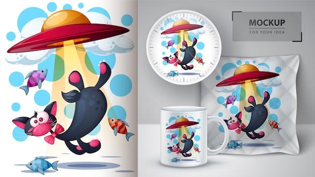 Kot, ryba, ilustracja ufo na kubek, zegarek i poduszkę