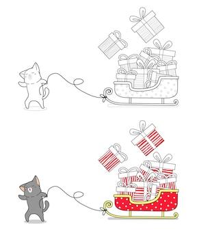Kot rysuje kreskówkę sanie łatwo kolorując stronę