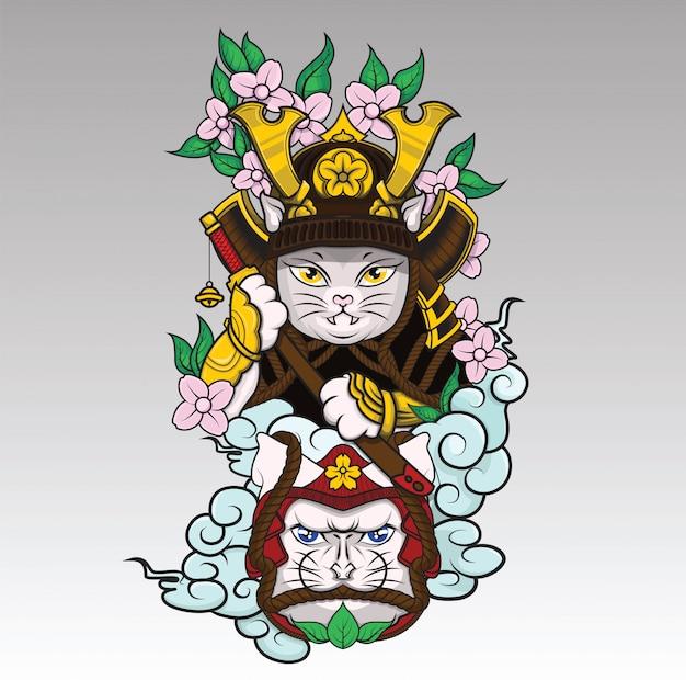 Kot samuraj na chmurze i kwiat sakura
