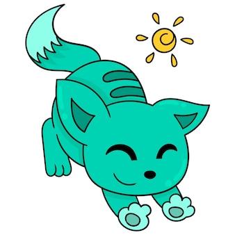 Kot się rozciąga, ponieważ jest leniwy, ilustracja wektorowa sztuki. doodle ikona obrazu kawaii.