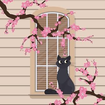 Kot siedzi na oknie. półokrągłe okno z kwiatami w stylu płaskiej. okno z żaluzjami. wektor.