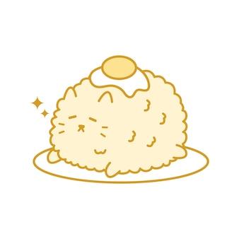 Kot smażony ryż urocza kawaii kitty ręcznie rysowane doodle
