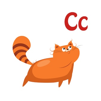 Kot. śmieszny alfabet, kot ilustracja