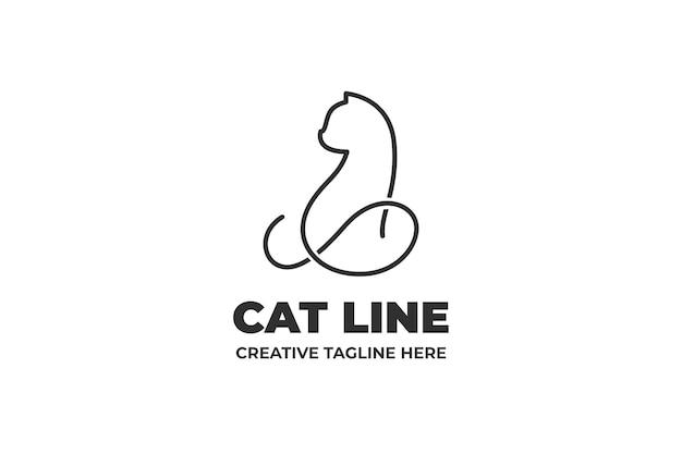 Kot Sylwetka Monoline Logo Firmy Premium Wektorów