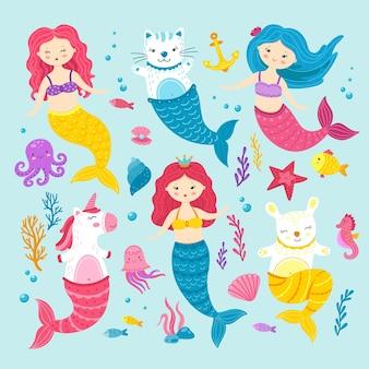 Kot syrenka jednorożca. graficzne szczęśliwe magiczne syreny. śmieszne kreskówki kociak zając kucyk. morskie życie clipart dla dzieci, słodkie zwierzęta oceanu wektor zestaw. jednorożec zwierzę, kotek i zając, szczęśliwa magiczna ilustracja