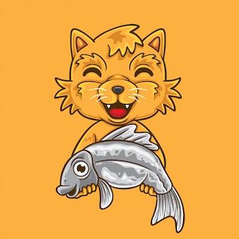 Kot trzyma kreskówkę ryb