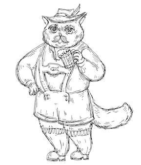 Kot ubrany w strój narodowy bawarii i trzymając szklankę piwa. vintage wektor wylęgowych monochromatyczne ilustracja na białym tle. ręcznie rysowane projekt na festiwal oktoberfest.