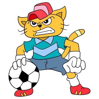 Kot udaje bramkarza w piłce nożnej, ilustracji wektorowych sztuki. doodle ikona obrazu kawaii.