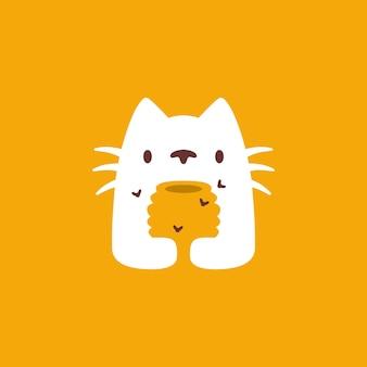 Kot ula miód pszczoła negatywna przestrzeń logo wektor ikona ilustracja
