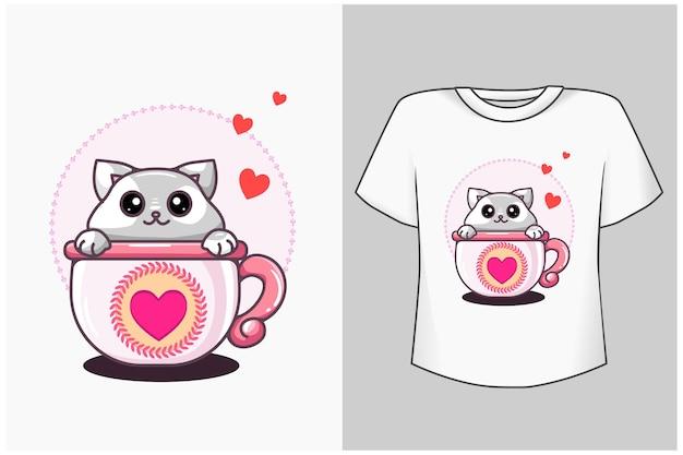 Kot w ilustracja kreskówka kubek