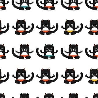 Kot w jodze stanowi wzór na białym tle na tapetę, zawijanie, pakowanie i tło.