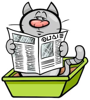 Kot w kreskówka pudełko na śmieci