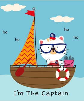 kot w łodzi doodle