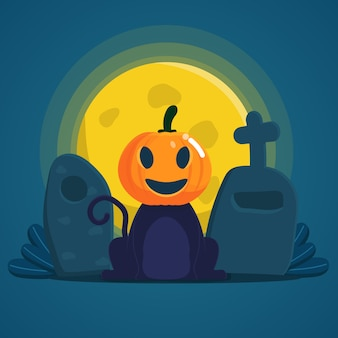 Kot w masce halloween pumpskin siedzi na nagrobku w noc halloween