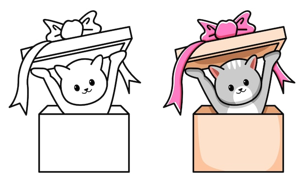 Kot w pudełku prezentowym kolorowanka dla dzieci