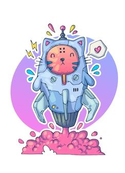 Kot w rakiecie startuje w kosmos. ilustracja kreatywnych kreskówek.