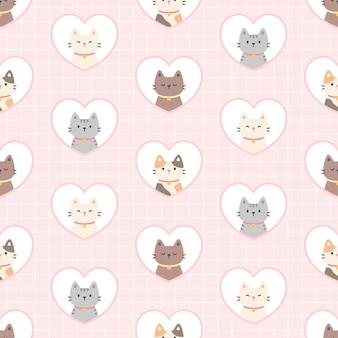 Kot w ramce serca bez szwu powtarzającego się wzoru, tło tapety, ładny wzór tła