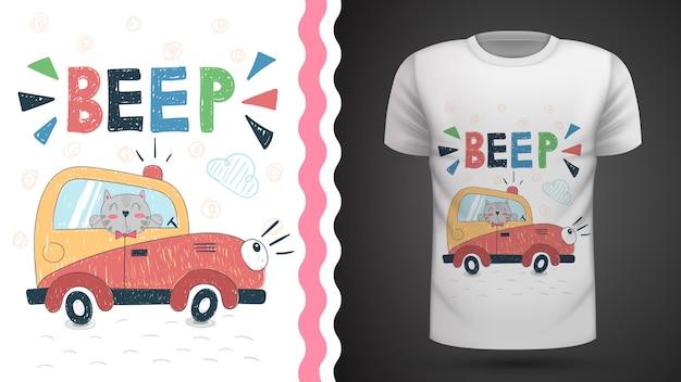 Kot w samochodzie - pomysł na t-shirt z nadrukiem