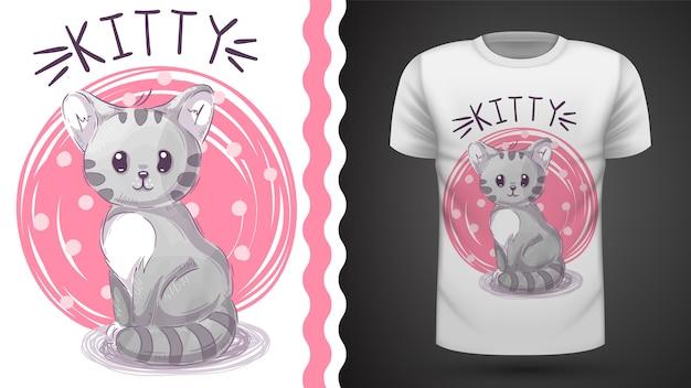 Kot watecolor - pomysł na t-shirt z nadrukiem