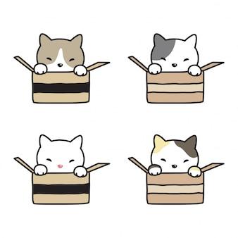 Kot wektor kotek bawełniane pudełko kreskówka