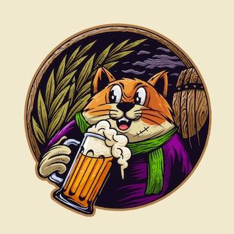 Kot z ilustracją piwa
