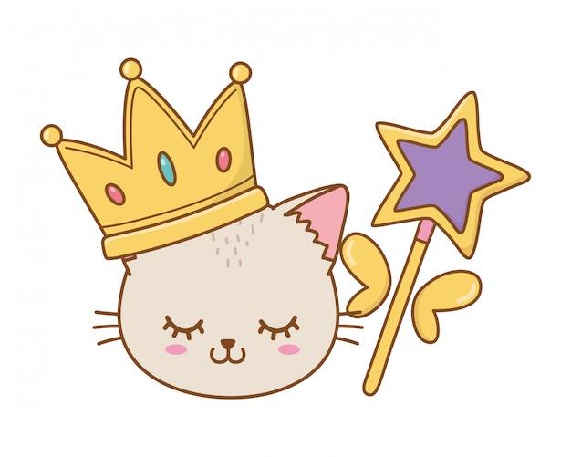 Kot z koroną i różdżką