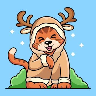 Kot z kreskówki kostium jelenia. ilustracja ikony zwierząt