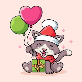 Kot z kreskówki kostium świąteczny. ilustracja ikony zwierząt