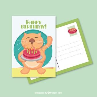 Kot z pocztówce tort urodzinowy