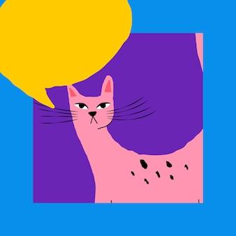 Kot z projektem ilustracji dymek