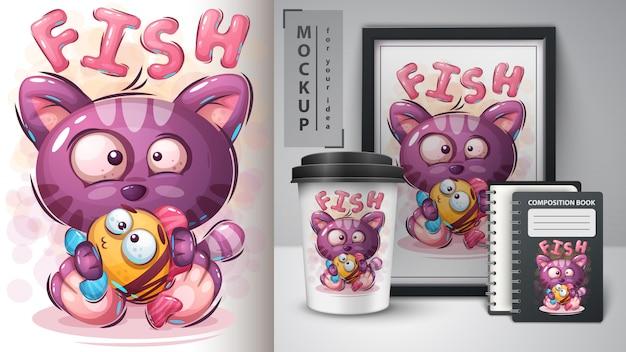 Kot z rybią ilustracją dla filiżanki i merchandisingu