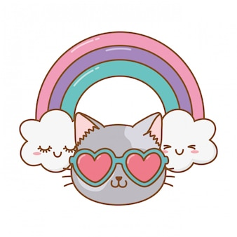 Kot z sercem okulary przeciwsłoneczne