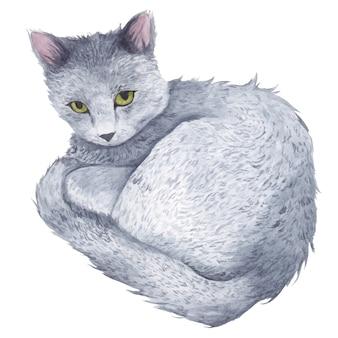Kot z zielonymi oczami leży zwinięty w akwareli