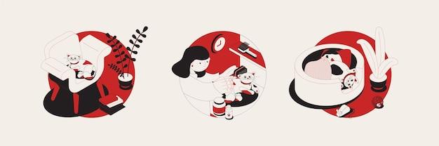 Kot zestaw trzech okrągłych ilustracji
