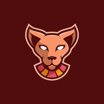 Kot zwierzę głowa kreskówka logo szablon ilustracja esport logo gry wektor premium