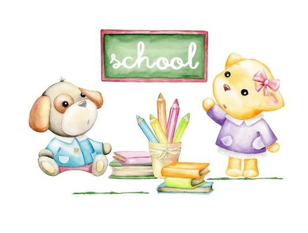 Kotek i pies, szkoła, tablica, kredki, książki. koncepcja akwarela, w stylu kreskówki na na białym tle. urocze zwierzęta i przybory szkolne.