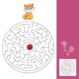 Kotek i wełniana piłka - gra labirynt z rozwiązaniem