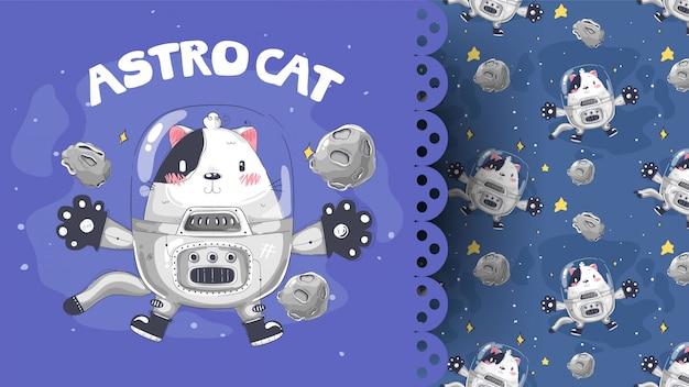 Kotek ubrany jak astronauta z przestrzenią