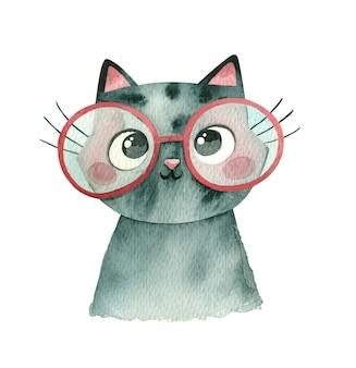 Kotek w okrągłych okularach na białym tle