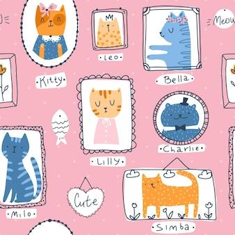 Kotek wzór. portrety kotów domowych w prosty, ręcznie rysowane stylu skandynawskim kreskówki dziecinny. kolorowe słodkie doodle zwierzęta w ramkach na różowym tle z pseudonimami.