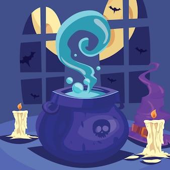 Kotły czarownic z magicznymi miksturami i eliksirem wrzącym kreskówka halloweenowym tle