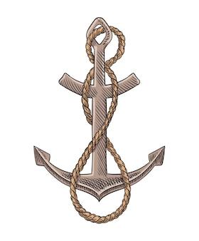 Kotwica i liny szkic grawerowanie ilustracji wektorowych. ręcznie rysowane obraz projektu wydruku. morski symbol w stylu vintage. retro rysunek